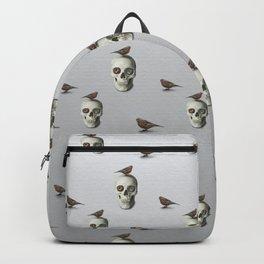 Skull & bird, watercolor Backpack