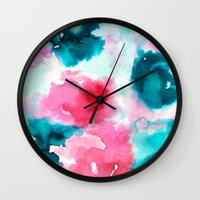 water color Wall Clocks featuring Water color by moniquilla