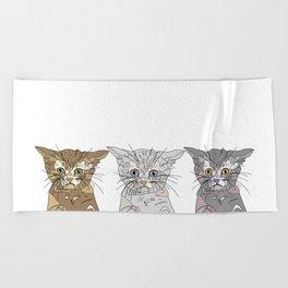 Triple Kitties Beach Towel