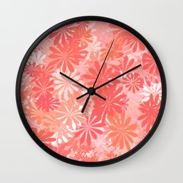 LIVING CORAL - FLORAL ASSORTMENT - COLOR OF THE YEAR 2019 Wall Clock