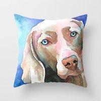 greg guillemin Throw Pillows featuring Greg The Weimaraner by bmeow