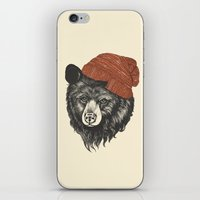 square iPhone & iPod Skins featuring zissou the bear by Laura Graves