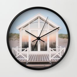 Beach house with reflecting sunset | The Hague, Netherlands | Pastel colors wall art print photography Wall Clock