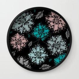 Delicate Flowers Wall Clock