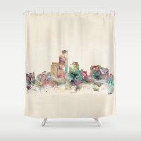 wisconsin Shower Curtains featuring milwaukee wisconsin skyline by bri.buckley