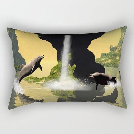 Funny jumping dolphins Rectangular Pillow