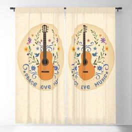 Peace Love And Music Folk Guitar Badge Blackout Curtain