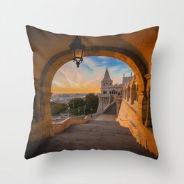 Fisherman's Bastion in Budapest, Hungary Throw Pillow
