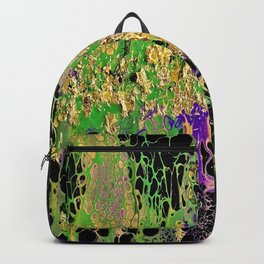 Abstract Acrylic Pour Art - Mardi Gras Backpack