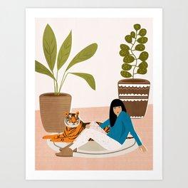 Girl and tiger Art Print