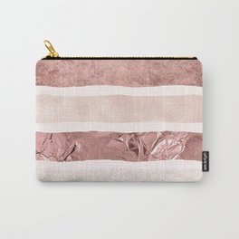Modern blush pink faux rose gold geometrical stripes Carry-All Pouch