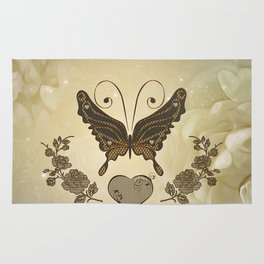 Beautiful elegant butterflies with heart Rug