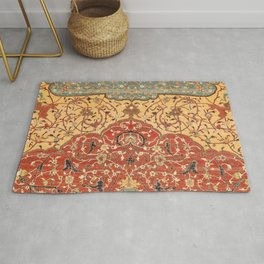 Flowery Vines I // 16th Century Contemporary Red Blue Yellow Colorful Ornate Accent Rug Pattern Rug