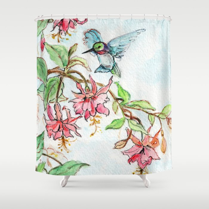 Honeysuckle Hummingbird Shower Curtain