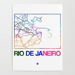 Rio De Janeiro Watercolor Street Map Poster