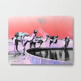 Camels Drinking at the Well Metal Print