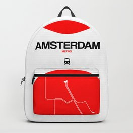 Amsterdam Red Subway Map Backpack