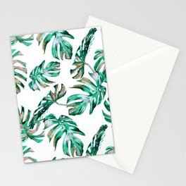 Green Coral Palm Leaves Stationery Cards