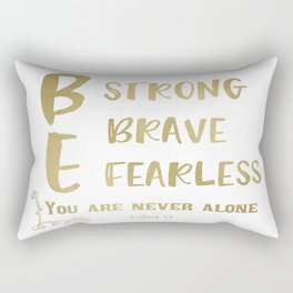Strong, Brave, Fearless Quote Verse Typography Rectangular Pillow