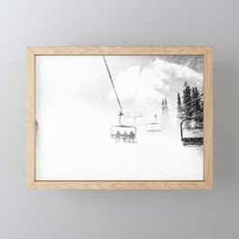 Snow Blasted // Black and White Ride on the Skilift in Blizzard Wind Framed Mini Art Print
