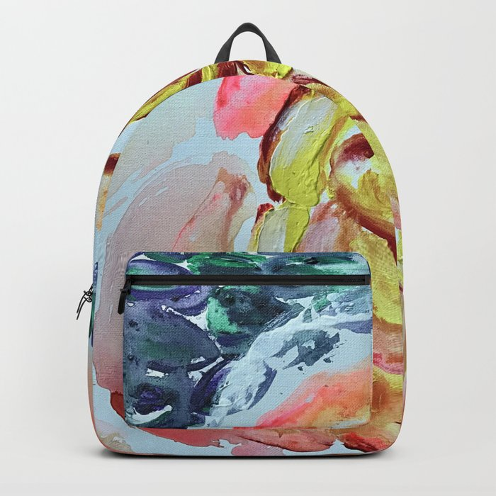 Yellow Greenery Rose Floral Backpack