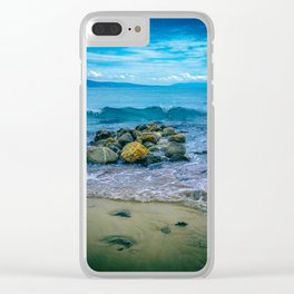 Enjoying summer time in blue, yellow and green. Clear iPhone Case