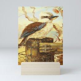 kookaburra on fence Mini Art Print