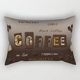 Ombre Coffee Beans and Brews Word Art Rectangular Pillow