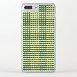 Yellow Blue Houndstooth Pattern Clear iPhone Case