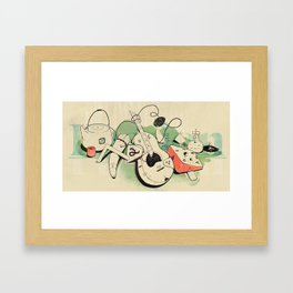 Music, tea & Cheese Framed Art Print