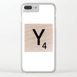 Scrabble Tile - Letter Y - Letter Art Clear iPhone Case