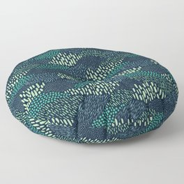Dashes and dots in blue-green // abstract pattern Floor Pillow
