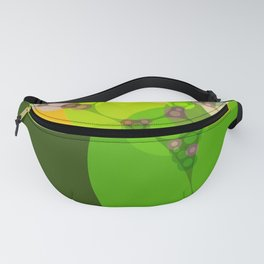 veronica - bright abstract of lime grass green and warm gold yellow Fanny Pack
