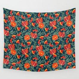 Pomegranate. Blue pattern Wall Tapestry