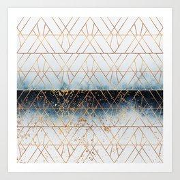 Winter Blue Geo Art Print