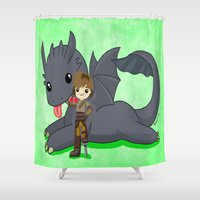 how to train your dragon Shower Curtains featuring How to Train Your Dragon 2 by Mayying