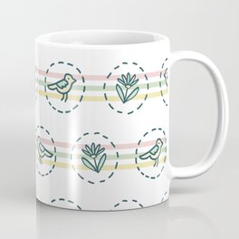 Tiny Birds Dotty Stripes Seamless Pattern. Coffee Mug