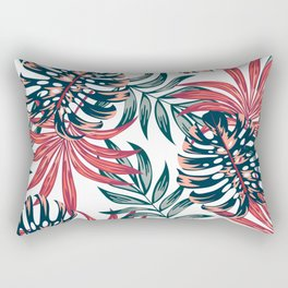 Botanical seamless tropical pattern with bright plants and leaves on a white background. Exotic jungle wallpaper. Trendy summer Hawaii print. Summer colorful hawaiian. Rectangular Pillow