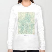 vintage map Long Sleeve T-shirts featuring Kyoto Map Blue Vintage by City Art Posters