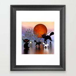 mooncats and the aliens Framed Art Print