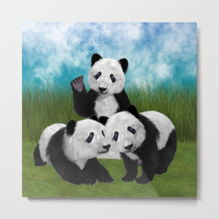 Panda Bear Cubs Love Metal Print