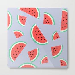 Watermelon Summer Pattern - violet Metal Print