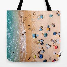 People On Algarve Beach In Portugal, Drone Photography, Aerial Photo, Ocean Wall Art Print Tote Bag