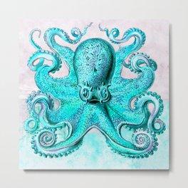 Octopus in Turquoise Metal Print