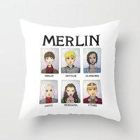 merlin Throw Pillows featuring MERLIN by Space Bat designs