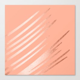 Sweet Life Swipes Peach Coral Shimmer Canvas Print