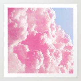 Retro cotton candy clouds Art Print