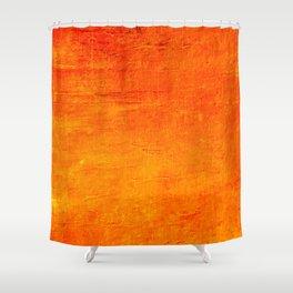 Orange Sunset Textured Acrylic Painting Shower Curtain