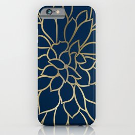 Floral Prints, Line Art, Navy Blue and Gold, Artist Prints iPhone Case