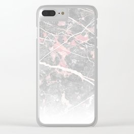 Pastel Pink & Grey Marble - Ombre Clear iPhone Case